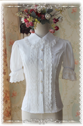 Infanta Lolita Short Sleeves Blouse Cream White L In Stock