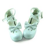 White Glitter Bow Lolita Shoes
