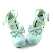 White Glitter Bow Lolita Shoes