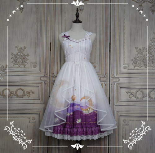 NyaNya Lolita Boutique ~Over the Sea the Moon Shines Bright V-neck Lolita JSK -Ready Made