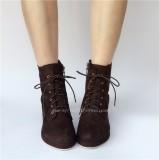 Coffee Velvet Lolita Boots for Woman