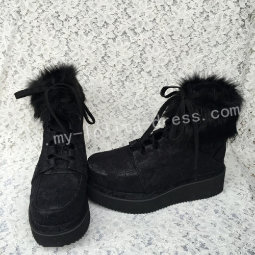 Gothic Black Velvet Lolita Short Boots with Lace and Furs
