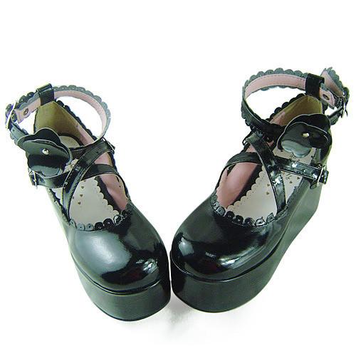 Black Shiny Flower Platform Princess Shoes