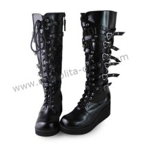 Gothic Punk Black Belts Lolita High Shaft Boots