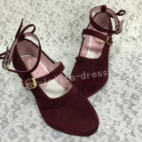 Sweet Wine Velvet Lolita Hees Shoes