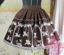 (Replica)Sweet Dream of Lolita Merry-Go-Around Skirt Coffee Average Size-Free Shipping