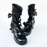Gothic Matte Black Bows lolita Short Boots