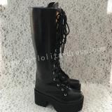 Gothic Matte Black Lolita Heels High Platform Boots