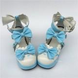 White Pink Square Heel Lolita Footwear