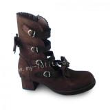 Coffee Velvet Heels Lolita Boots