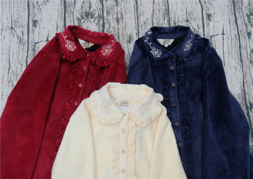 Little Dipper Rose Embroidery Blouse - Normal/Double Side Velvet 2 Versions -Ready Made