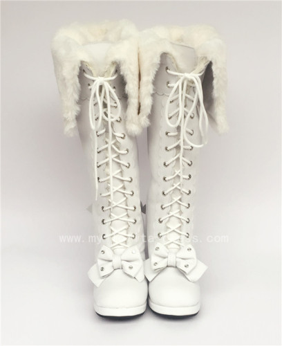Sweet White Real Leather Upper Lolita High Boots