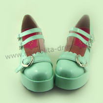Mint Heart Platform Lolita Shoes