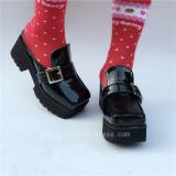 Glossy Black Lolita Flat Shoes