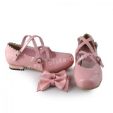 Sweet Pink Lolita Flats Shoes with Bows