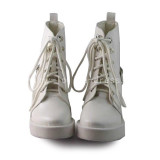 Matt White Girls Short Boots