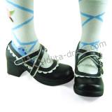 Black White Two Straps Lolita Heels Shoes