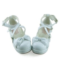 Shiny White Knots Lolita Shoes