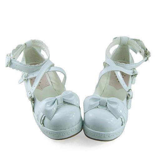 Shiny White Knots Lolita Shoes