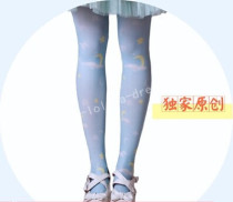 Sweet Moon Star White Cloud Prints Lolita Tights