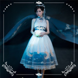 NyaNya Lolita Boutique ~Over the Sea the Moon Shines Bright Cheongsam Qi Lolita OP -Pre-order