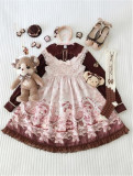 Doll and Bear Dance Series~Sweet Lolita Jumper/Skirt -Ready Made Sax L-XL JSK + Headdress In Stock