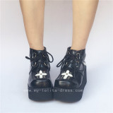 Black Gothic Lolita Shoes with White Cross Patterns
