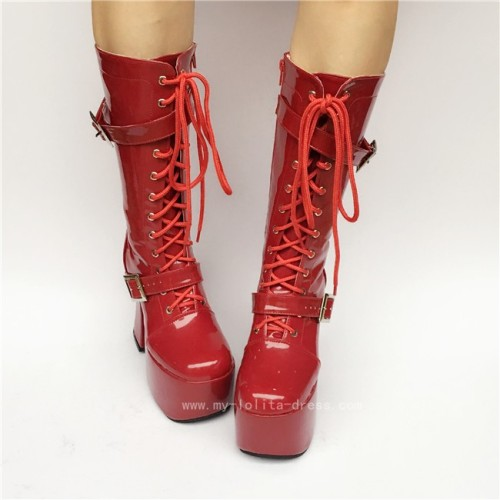 Scarlet Glossy Heels Shoes Lolita Boots