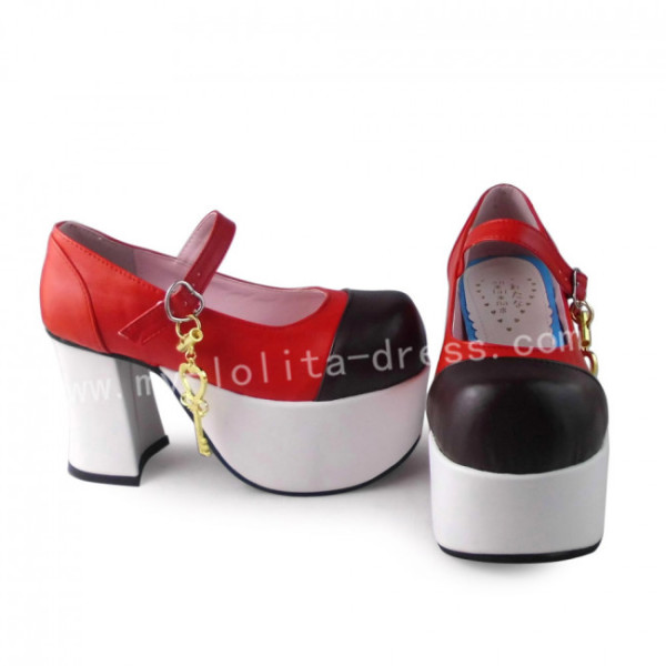 Sweet Red Black Square Heels Shoes