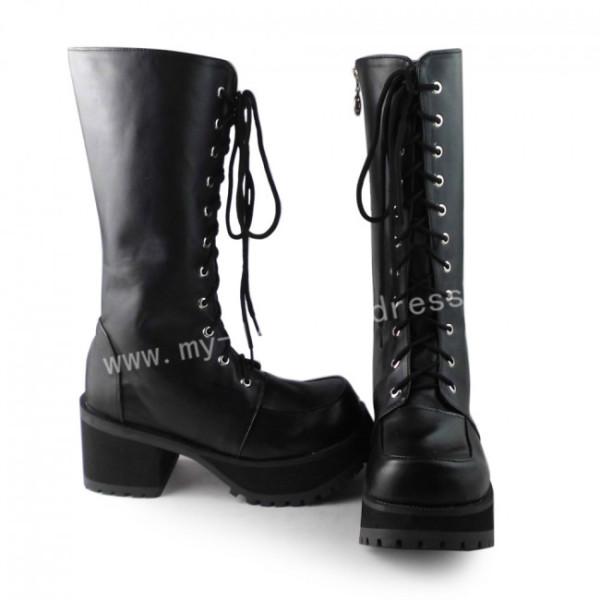 Black Square Heels Lolita  Boots