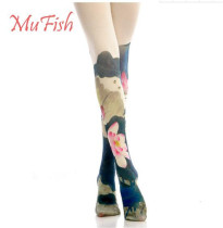 Lotus Leaf~ 120D Velvet  Lolita Printed Tights