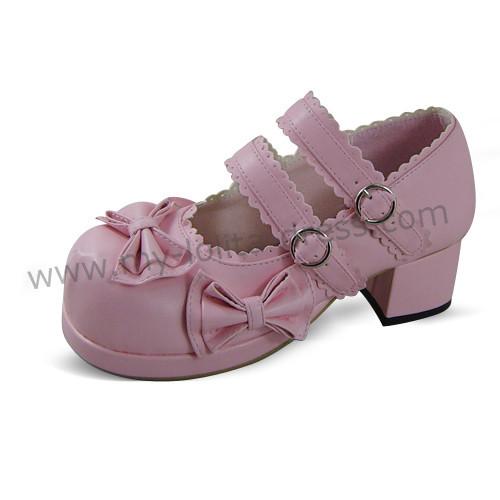 Double Straps Bows Lolita Shoes