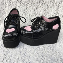 Sweet Black Lolita High Platform with Pink Heart Shape