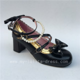 Sweet Black Beads Bows Lolita Shoes Flats Tea Party Heels