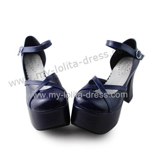 Navy Blue Matte Wedges Lolita Platform Shoes