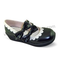 Black Double Bows Lolita Shoes White Trim