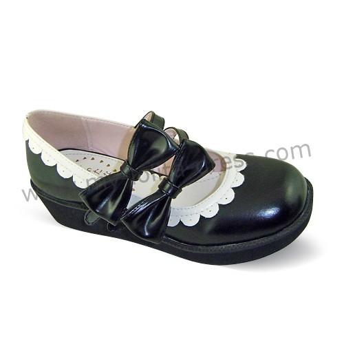 Black Double Bows Lolita Shoes White Trim