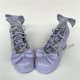 Sweet Purple Square Heels Lolita Shoes with Straps