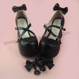 Removable Bows Cross Straps Lolita Shoes