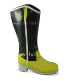 Yellow Black Square Heel Middle Shaft Boots