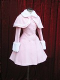 Lolita Coat with Fur Collars Removable Cape - Pink Sweet Red Christmas Wine Size S - In Stock