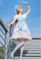 Floating Castle Whales~Sweet Printed Lolita JSK