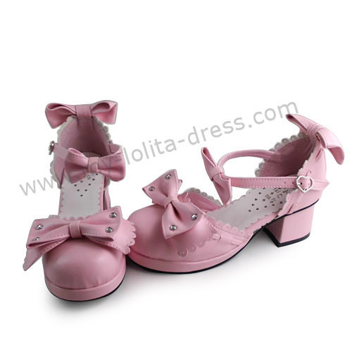 Matte Pink Three Bows Lolita Summer Shoes