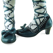 Dark Blue Bow Straps Lolita Sandals