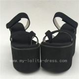 Black Jean Cloth Lolita High Platform with Unusaual Heels