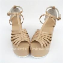 High Platform Biege Matte Lolita Sandals