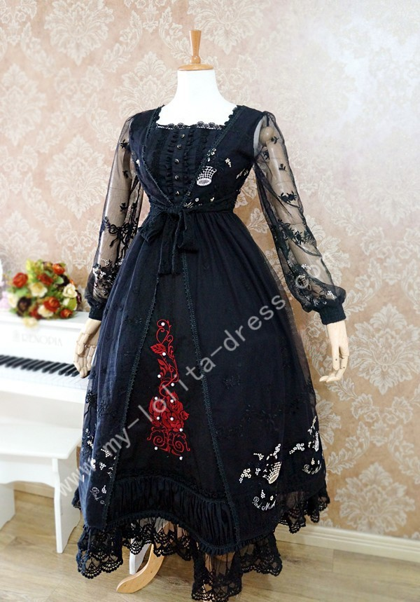 Long A-line Skirt Vintage Lolita Dress with Embroidery 7 Colors