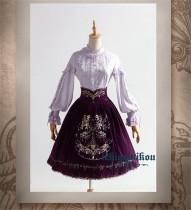 The Splendor of Gold&Siliver Tree ~Classic Embroidery Lolita High Waist Fishbone Skirt -Pre-order