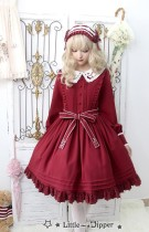Little Dipper  ~Cat + Moon + Stars~ Embroidery Lolita Long Sleeves OP Dress - Ready Made