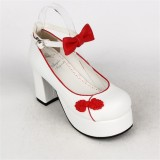 Angelic Imprint- Elegant Bow Embroidery Round/Square Heels Qi Lolita Shoes